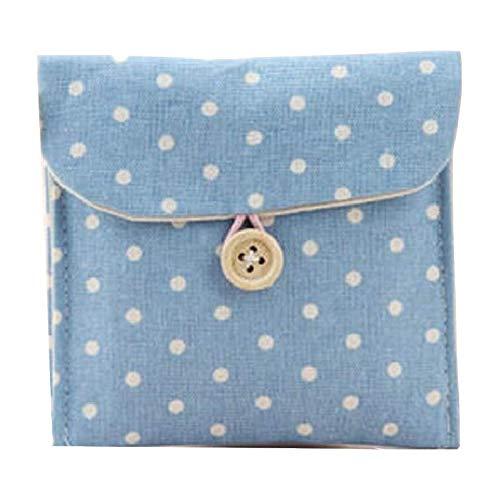 KosmetiktaschePolka Dot Organizer Bags Damenhygiene Damenbinden Paket Kleine Kosmetiktasche aus Baumwolle für Make-upBlau
