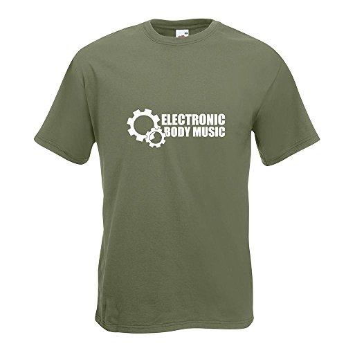 KIWISTAR - Elektronic Body Music - EBM Zahnrad T-Shirt in 15 verschiedenen Farben - Herren Funshirt bedruckt Design Sprüche Spruch Motive Oberteil Baumwolle Print Größe S M L XL XXL Olive