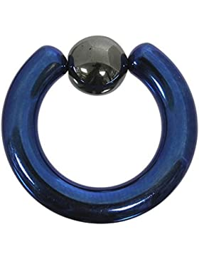 Klemmkugelring 5,0 mm aus blauem Titan - Piercing BCR - Größenwahl