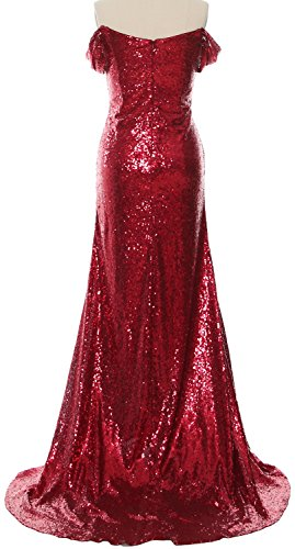 MACloth Women Off the Shoulder Prom Dress Mermaid Sequin Formal Evening Gown gold