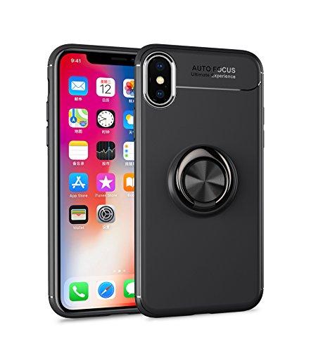 Homikon TPU Silicone Coque Etui Housse de Protection Case avec 360 degré Anneau Support Magnétique Soft Flexible Bumper Gel Shock-Absorption Étui Couverture pour iPhone XS Max - Noir