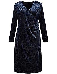107f46adf58c96 Ulla Popken Damen große Größen bis 64, Samt-Wickelkleid,  Ausbrenner-Qualität mit floralem Muster, V-Ausschnitt mit Wickeloptik, 3…