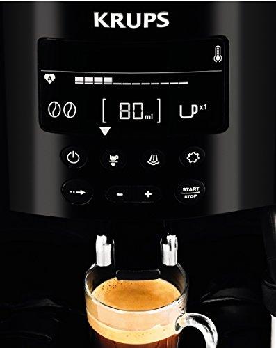 Krups EA815070 - Cafetera Automática 15 Bares de Presión, Pantalla LCD, 3 Niveles de Intensidad, Ajustable de 20 ml a 220 ml, Programa Automático de Limpieza y Descalcificación, Molinillo Integrado