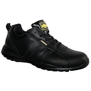 HOLMAN Herren Sicherheit Stahlkappe Leichte Schnürschuh Arbeit Schuh Trainer, Schwarz - Schwarz - Größe: 47