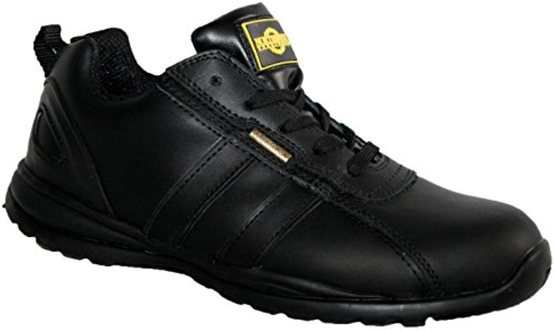 Northwest - Zapatos de seguridad para mujer, acero en la punta de los dedos, con cordones, ligeras, color negro...