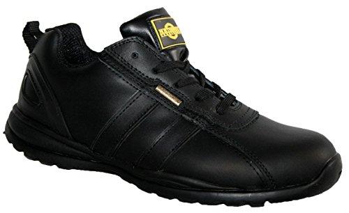 HOLMAN Herren Sicherheit Stahlkappe Leichte Schnürschuh Arbeit Schuh Trainer, schwarz - schwarz - Größe: 44 Mens Steel Toe Schuh