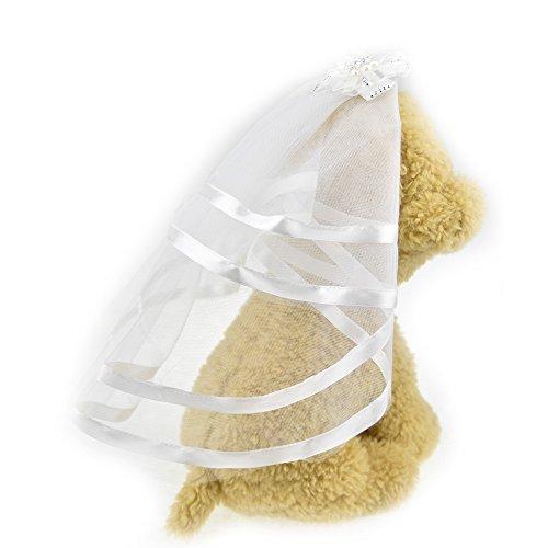 Schleier für Hunde kleine Hunde Katze Hochzeit Schleier Kleid Braut Kostüm Hund Haar Schleife...