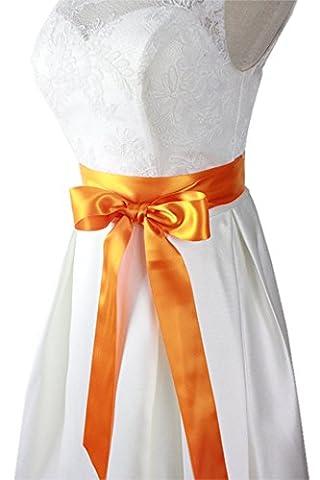 Lemandy Handmade Simple Stretch Stain Belt/Sash for Forest wedding, beach wedding, vintage wedding in 27 Colors B1 (orange)