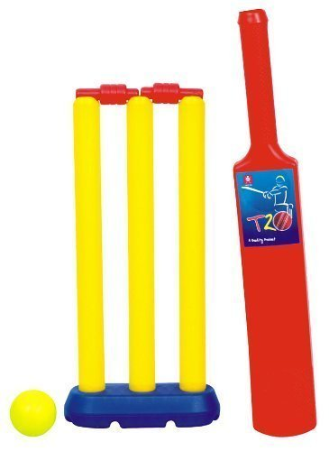 Kinder Garden Plastic Bat & Ball with 3 Wickets,1 Base Stand,Bails,1 Bat & 1 Ball.(2Years to 6Years)(Color May Vary from Picture)