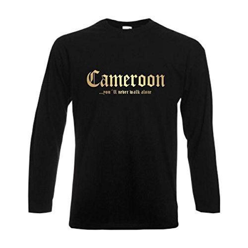 Longsleeve Kamerun CAMEROON never walk alone Herren langarm T-Shirt Länder Fanshirt schwarz auch große Größen Übergrößen S-6XL (WMS01-32b) Mehrfarbig