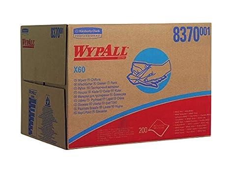 WypAll 8370 X60 Cloths, Hydroknit, 3-Ply, Brag, 200 Sheets per Box, Blue