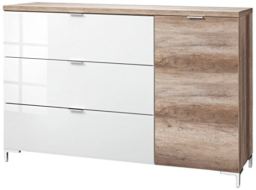 CS Schmalmöbel 45.150.505/030 Highboard Cleo Typ 22, 163 x 50 x 111 cm, wildeiche / weißglas