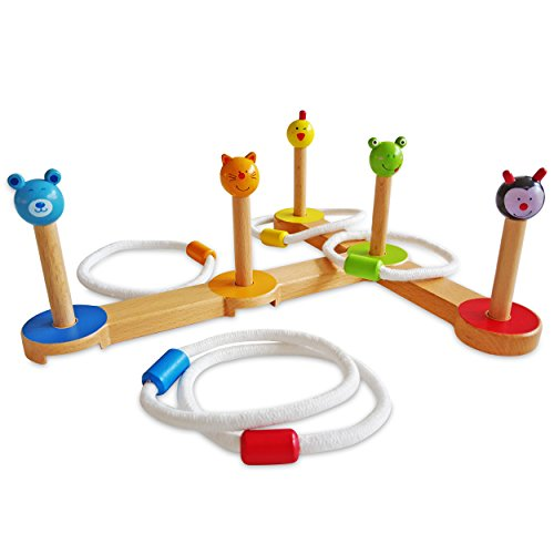 KidAttic Premium Wooden Ring Toss Game Indoor Kids Quoits Set