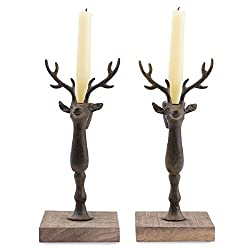 Mud Pie Metal 9 12 Inches X 4 Inches Deer Taper Holder Decoration