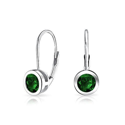 Minimalistische .50 Ct Grün Solitär Lünette Brillanten Cz Ohrringe Leverback Simulierten Smaragd Sterling Silber 925