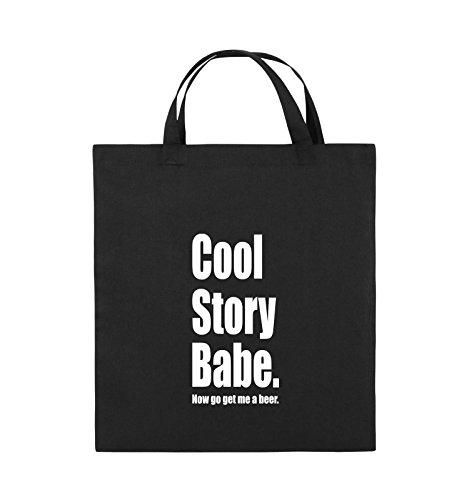 Comedy Bags - Cool Story Babe now get me a beer - Jutebeutel - kurze Henkel - 38x42cm - Farbe: Schwarz / Pink Schwarz / Weiss
