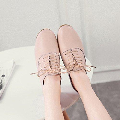 HWF Scarpe donna Primavera scarpe da donna singolo piatto scarpe casual stile Art scarpe da studente in pelle femminile ( Colore : Bianca , dimensioni : 35 ) Rosa