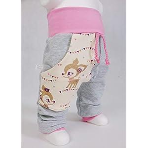 Baby Pumphose mit Tasche Hafenkitz Gold Glitzer handmade Puschel-Design
