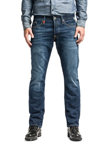 Replay - Waitom, Pantolon Straight Da Uomo, Blu (Blau (Blue Denim)), W36/L34 (36)