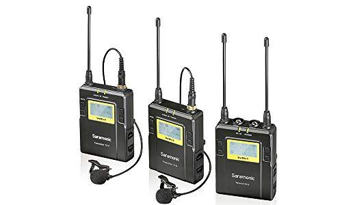 Saramonic UWMIC9 sistema microfono lavalier wireless UHF digitale 96 canali con 2 trasmettitori da tasca, ricevitore portatile, 2 microfoni lavalier, attacco a slitta, uscite XLR/3.5mm (RX9+TX9+TX9)