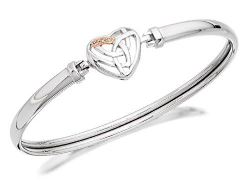Clogau Gold Damen-Schmuck Silber und 9ct Rose Gold Diamant Herz Armreif - Antike Kostüm Armbänder
