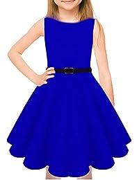 Girls Skater Sleeveless Belted Dress Swing Party Kids Children Tea A-Line  Mini T- 3b42bd9f625e