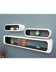 Conjuntos de 3 piezas para Salon-Retro Style cubo estante CD estante de pared Estantería de pared Estantería de pared soporte Blanco Negro