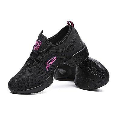 Frauen Tanzschuhe Leder Leder Latein / Modern Sneakers Chunky Ferse Praxis Black