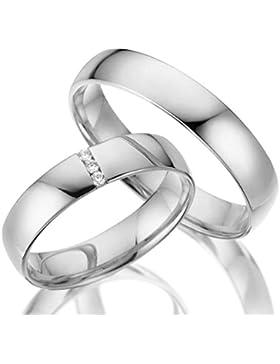 2 x Trauringe 925 Silber PAARPREIS AG.13.V2 mit Swarovski Crystal und Gravur Verlobungsringe Günstige Eheringe...