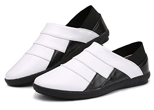 Insun , Chaussures bateau pour homme blanc/noir