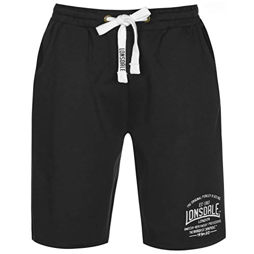 Lonsdale - Pantalones Cortos de Boxeo para Hombre Negro L