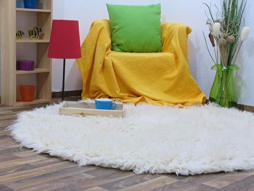 Flokati Teppich Qualität 2000 natur Kult Shaggy Teppich Hochflor Langflor 100% Schurwolle, Größe: 145 cm rund -