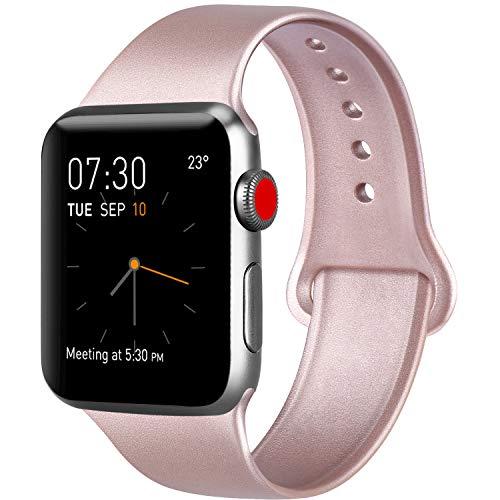 AK kompatibel Apple Watch Armband 42mm 38mm 44mm 40mm, Weiche Silikon Sport Ersatz Armband kompatibel iWatch Series 4, Series 3, Series 2, Series 1 S/M M/L (0 Roségold, 38/40mm M/L)