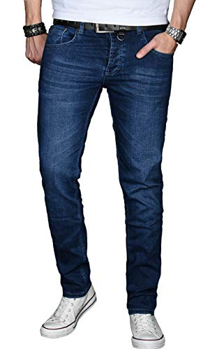 r Herren Jeans Hose Basic Stretch Jeanshose Regular Slim [AS025 - Dunkelblau - W30 L32] ()