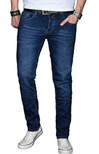 A. Salvarini Designer Herren Jeans Hose Basic Stretch Jeanshose Regular Slim [AS025 - Dunkelblau - W29 L32] - Herren-jeans-tag
