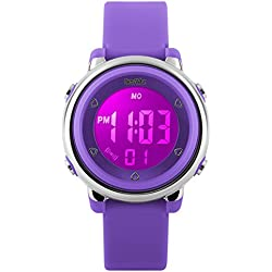 BesWLZ Digital Watch Outdoor Sports Kids LED Alarm Stopwatch Children's Dress Wristwatches Purple