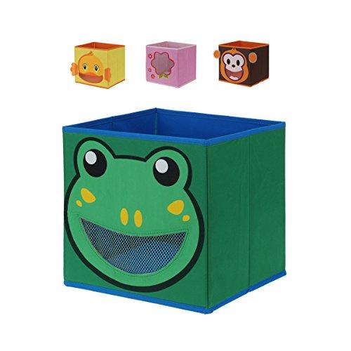 Juego de 4caja caja caja caja para guardar Estantería Cajas Niños Kids Mono Pato Rana Flores Rosa 28x 28cm