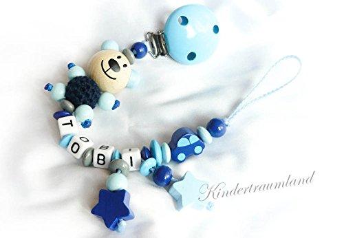 Baby Schnullerkette Teddy für Jungen mit Wunschnamen - Kinder - Geschenk zur Geburt, Taufe - Länge: max. 22cm (ohne Clip) (Dunkelblau, Babyblau, kleines Auto)