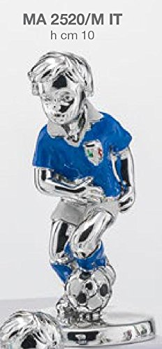 Statuina giocatore calcio squadra nazionale italiana h.cm 10 smaltata laminato argento made in italy con scatola