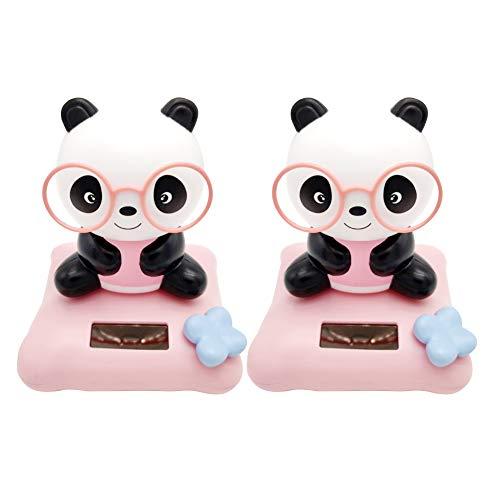 Cartoon Panda Solarbetriebene Schaukel Spielzeug Auto Armaturenbrett Ornament Kinder Geschenk - Rose ()