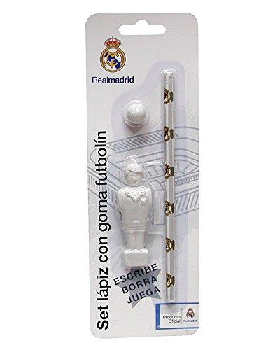 REAL MADRID CF® Set Futbolín (Goma Pelota+Goma Jugador+Lápiz)