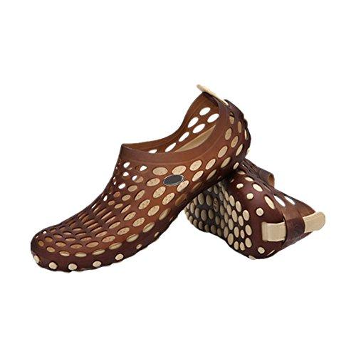 Meijunter Homme Trou creux Des sandales Respirant Plage Chaussures Chaussons Cool Chaussures Kaki w/marron