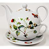 Strawberries & Butterflies Tea For One Set Porcelain Hand Decorated in the UK Free UK Delivery