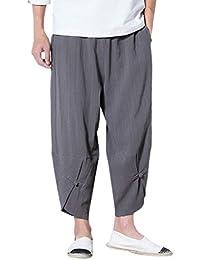 190dbb6d5a Pluderhose Hombre Anchas Cómodo Unisex Pantalones Harem Fashion Ocasional  Joven Bastante Unicolor Elastische Taille Pantalon Lino