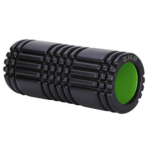 GHB Rodillo de Espuma para Entrenamiento y Masaje Estimulante - Rodillo de Gomaespuma EVA+ABS para Fitness Yoga Gimnasia, etc. Talla 33 x 14 cm -Negro/Interior Verde