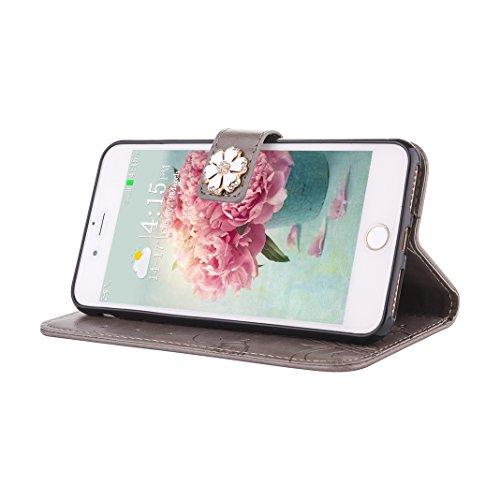 Coque iPhone 8 Plus Mandala, Étui iPhone 7 Plus Housse Portefeuille Cuir, Moon mood® Portable Couverture Folio Case Cover pour Apple iPhone 7 Plus 5.5 pouce Coque en PU Cuir Etui Couvrir Cas de Téléph 4-Gris
