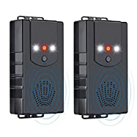 Miavogo Set of 2 Marten Repeller for Car with LED Flash Function Marten Free Ultrasonic 12 kHz Frequency Marten Repellent for Garage Engine Compartment Connection to 12 V Car Battery