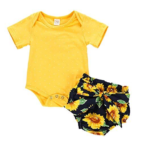 ka Dot Jumpsuit Young Kinderbekleidung Baby Strumpfhose Sunflower PP Shorts Set(Gelb,90) ()