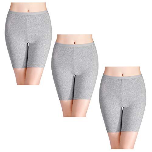 wirarpa Lucha contra el frotamiento pantalones cortos de algodón pata larga bragas de las señoras de la ropa interior suave del boxeador cortocircuitos para Mujeres XX-Large (54/56) Gris