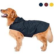 Dog Raincoat with Hood & Collar Hole & Safe Reflective Strips,Ultra-Light Breathable 100% Waterproof Rain Jacket by Zellar for Medium Large breed Dog, Blue 5XL
